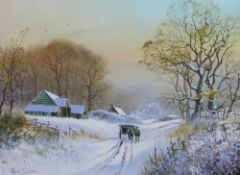 Peter Coslett, (b. 1927) Winter Landscape with horse and cart, oil on canvas, signed, 40 x 30cm