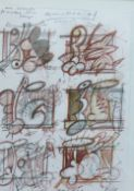 Doug Cocker, RSA, Animated Garden - Working Drawings, pencil, signed, framed under glass, Open