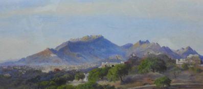 20th Century School, Mediterranean Hillside Village, Oil on card, apparently unsigned, framed