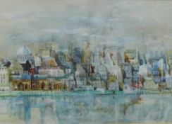 John Uht, City Scape, watercolour, singed and dated '72, framed under glass with a Furneaux