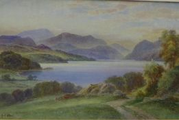 Edith A. Stock (1880 - 1929) Loch Luichart - Dingwall, Watercolour, singed, framed under glass, 45 x