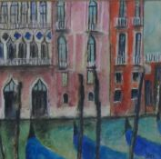 Stephanie Dees, RSW (b.1974) Facade, Venice Mixed Media, Signed and framed under glass, 14 x 13cm