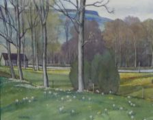 William Walker Telfer, (1907 - 1989) Spring at Aberfeldy, Watercolour, signed and framed under