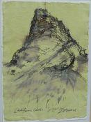 Kate Downie RSA, (SCOTTISH b. 1958) Lindisfarne Castle, Ink on paper, signed, framed under glass,