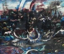 20th century school, Fish in a Harbour, Mixed Media, apparently unsigned, framed under glass, 57 x