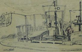 Jack Firth, (SCOTTISH b. 1917) Fishing Boats at Rest, Pencil and charcoal, signed, framed under