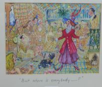 But Where is Everybody - ?, Cresswell, coloured cartoon print, signed in pencil, framed under glass,