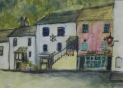 Stephanie Dees, RSW (B.1974) Fife Village, Mixed Media, signed and framed under glass, 18 x 13cm