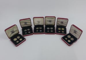Maundy Money boxed sets for 1960, 1961, 1962, 1964, 1965 & 1966, in red leather issue boxes, (6)