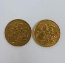 Queen Victoria, 1896 half gold sovereign and a an Edward VII, 1908 gold half sovereign (2)
