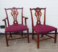 Set of 20 Chippendale style chairs to include four carvers and 16 side chairs, 97 x 59cm (20)