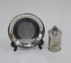 Mexican silver dish with an Aztec pattern, stamped 925, 11.5cm, together with a Chinese white