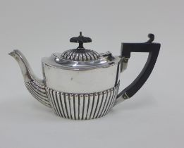 Early 20th century silver Bachelor teapot, hallmarks rubbed, 11cm high