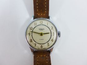 Gents vintage Smith manual wind wrist watch, champagne coloured dial with Arabic numerals, on a