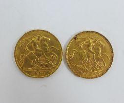 George V, 1911 gold half sovereign and a George V, 1925, gold half sovereign, (2)