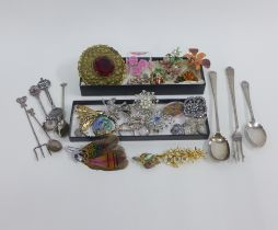 Collection of vintage and later costume jewellery brooches, lady's wristwatch and various Epns