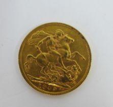 Edward VII, 1909 full gold sovereign