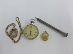 Early 20th century silver cased fob watch, white metal propelling pencil with agate seal, yellow