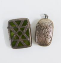 Two Edwardian silver vesta cases, one with Conemara inset pattern, both with Birmingham 1902