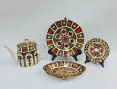 Royal Crown Derby Imari porcelain to include a 1128 teapot, cabinet plate, oval dish and small