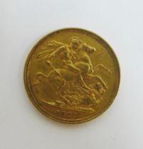 Queen Victoria 1887 full gold sovereign S / Sydney Mint mark
