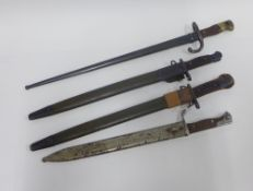 Four WWI bayonets to include French, German and USA (4)