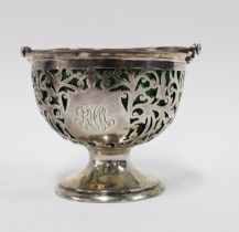 Edwardian silver sugar basket by James Deakin & Sons , Sheffield 1904, with pierced design and swing