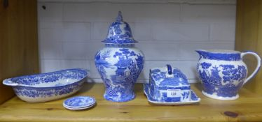 Collection of Staffordshire transfer printed blue and white pottery to include a Masons jar and