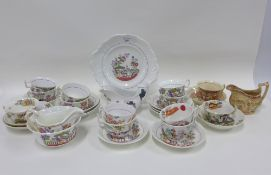 Collection of late 18th and early 19th century Staffordshire chinoiserie pattern table wares,