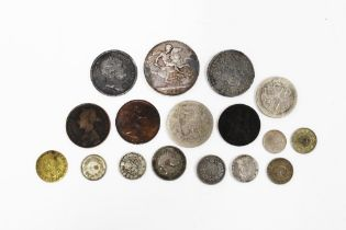 Small group of pre decimal coins to include a Victorian silver crown 1896 (a lot)