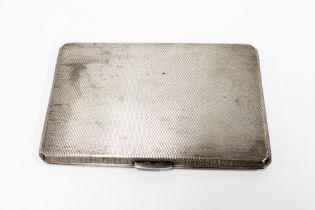 Silver engine turned cigarette case, Birmingham 1953, 13cm