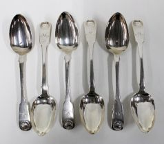 William IV set of six silver fiddle pattern table spoons with shell husk terminals, Andrew