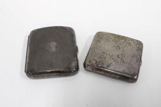 Birmingham silver cigarette case and an EPBM cigarette case / hip flask (2)
