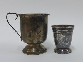 Silver christening cup, Birmingham 1965 together with a Birmingham silver shot cup (2)