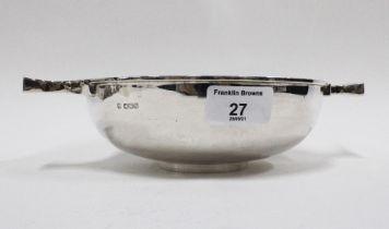 George V silver quaich, Martin Hall & Co, Sheffield 1924, width across handles 25cm