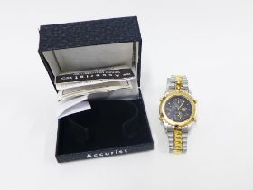 Gents Accurist quartz multifunction alarm chronograph wristwatch on a stainless steel strap, boxed
