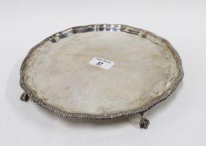 George V silver salver, Thomas Bradbury & Sons, Sheffield 1927, with gadrooned piecrust rim, on four
