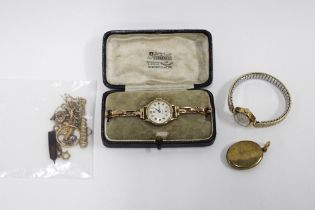 Lady's 9ct gold Cyma wristwatch on a 9ct gold strap together with a 9ct gold cased Incabloc