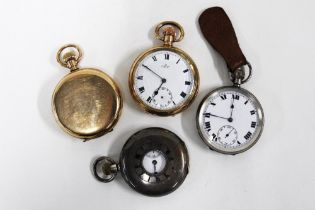 a group of pocket watches to include two gold plated and two silver cased - one inscribed 'To