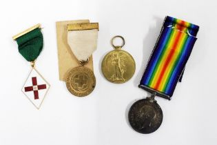 WWI Victory and War medals, awarded to PTE LAW 203708 and two Red Cross medallions (4)