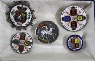 A group of five silver and enamel coins to include a double florin, crown and shilling, (5)