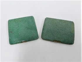 Early 20th century shagreen cigarette case with a gilt interior, together with a shagreen powder