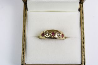 18ct gold diamond and ruby gypsy ring, UK ring size Q