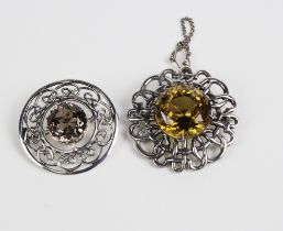 Two Scottish silver citrine brooches, both with Edinburgh hallmarks and one stamped INVSS (2)