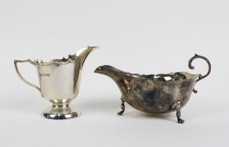 Edwardian silver cream jug, Chester 1908 and a George VI silver sauce boat, Birmingham 1939, largest