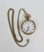 Waltham gold plated open faced pocket watch with a 9ct gold watch chain, stamped 375