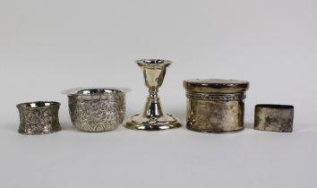 Victorian silver sugar bowl, Sheffield 1887, silver trinket jar and cover, Birmingham 1905, silver