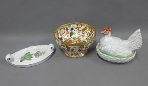 Mixed lot to include Staffordshire hen on nest, Ironstone Amherst pattern pedestal bowl and a