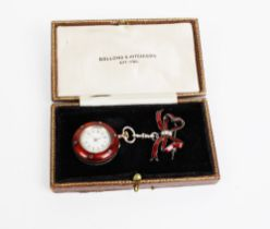 Early 20th century red enamel and seed pearl fob watch