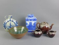 Mixed lot to include a Birmingham silver mounted teapot, cream jug and sugar bowl (a/f) , studio